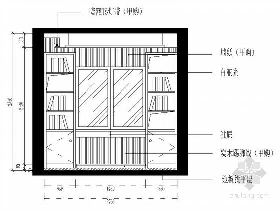 [杭州]两室两厅温馨小户型室内装修施工图(含效果图) 次卧立面