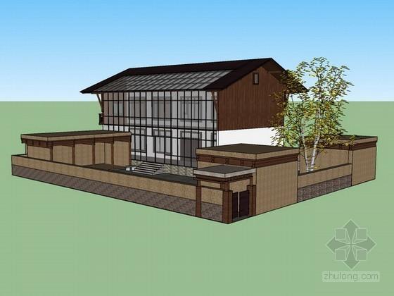 青海某地区二层小院式住宅sketchup模型