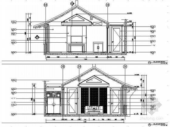 某会所现代中式套房室内装修施工立面图