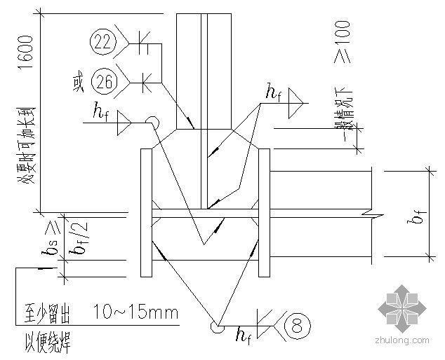 某变截面工字形边柱的工厂拼接及当框架梁与柱刚性连接时柱中设置水平加劲肋的节点构造详图
