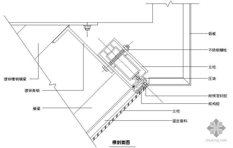 某吊挂式玻璃幕墙节点构造详图(六)(横剖面图二)