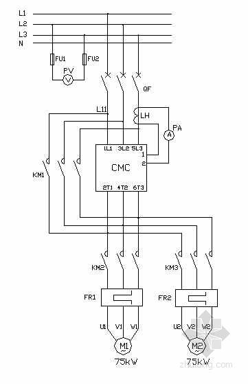 75kW水泵控制柜软启动控制原理图(一拖二)