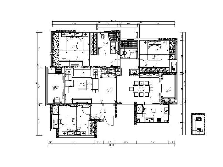 [广州]新中式三居室设计施工图(含效果图)