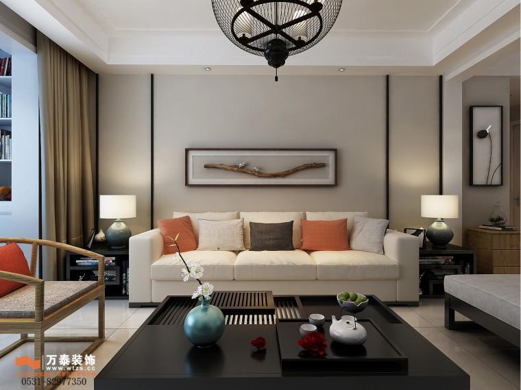 领秀公馆120平三室两厅装修,新中式风格真的很漂亮-沙发墙.jpg
