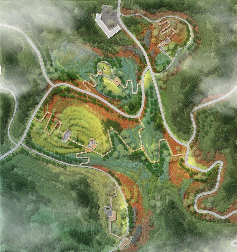 3套国外精选公园景观彩色平面图PSD源文件