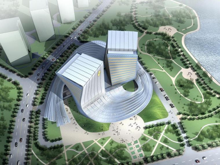 [香港]某电视台斜密柱钢结构玻璃幕墙办公楼设计方案文本(PDF+CAD)