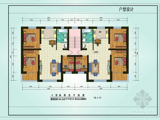 三室两厅一卫户型图(89.64)