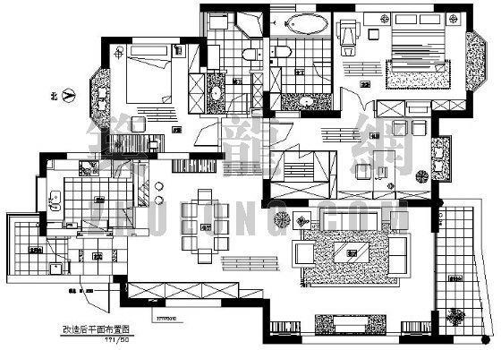 三室二厅两卫室内装修图