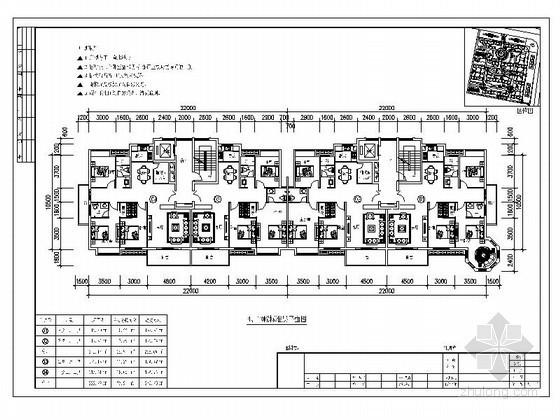 板式高层一梯二户户型图(130/140)