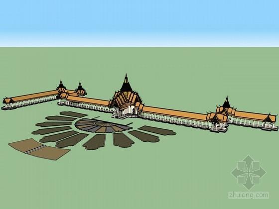 东南亚建筑长廊SketchUp模型下载