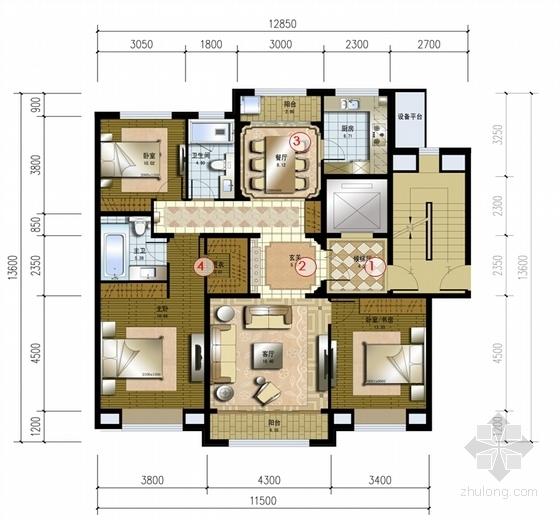超高层Artdeco风格住宅区规划平面图