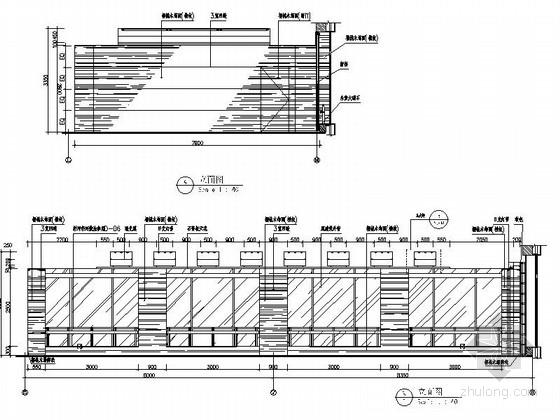 [广东]独创省级国家权力机关办公楼室内装修施工图(含实景)大会议室立面图