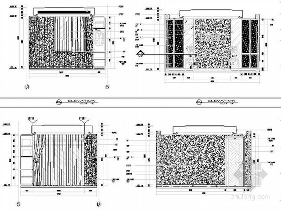 [浙江]现代风格三层别墅室内装修施工图次卧立面图