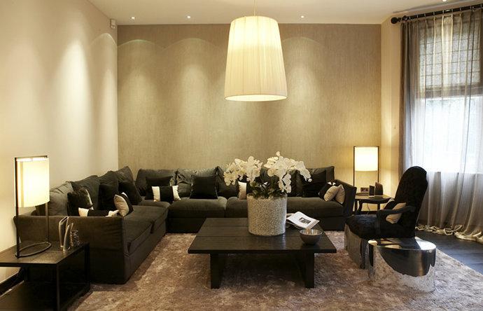 极简英式风格复式客厅装修效果图