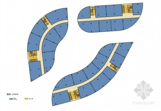 [北京]玻璃幕墙高层办公综合体建筑设计方案文本(多方案比对)-玻璃幕墙高层办公综合体各层平面图