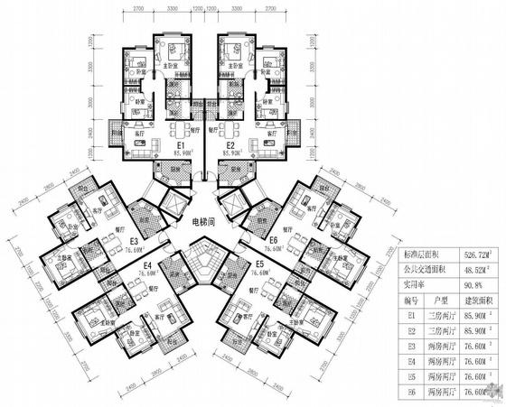 塔式高层一梯六户户型图(86/86/77/77/77/77)