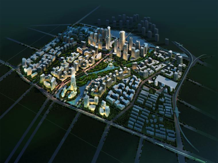 商业区建筑景观PSD分层素材下载