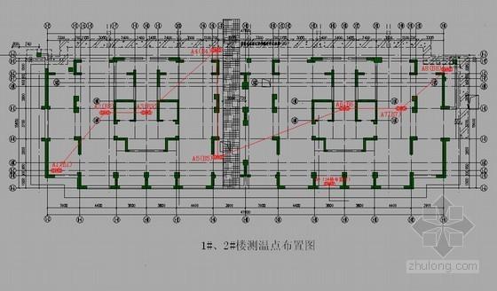 [江苏]住宅工程大体积混凝土施工方案(测温点布置图)
