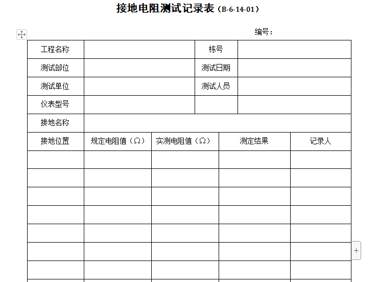 接地電阻測試記錄表