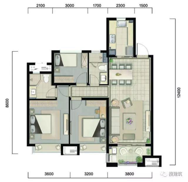 万科94㎡、104㎡、117㎡不同面积、一样的3房2厅2卫户型!_3