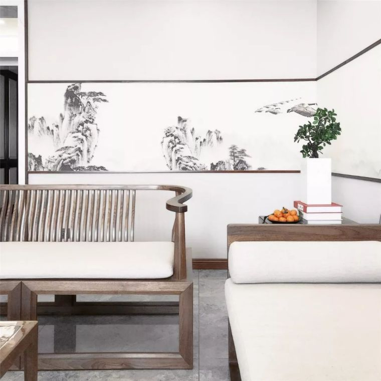 新中式徽派元素山水画为轴线的家装设计_12