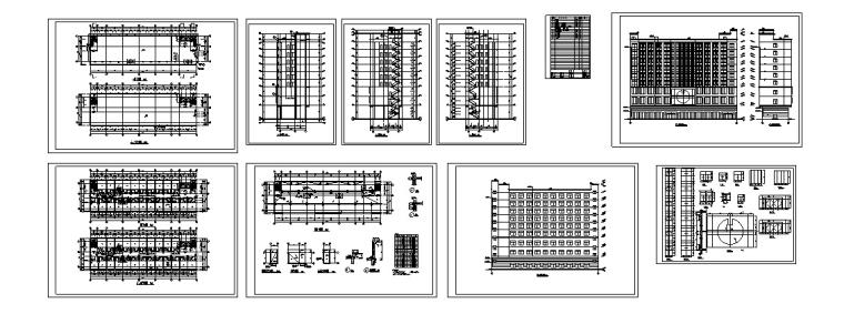 5套现代多层宾馆酒店建筑设计施工图CAD-现代多层宾馆酒店建筑施工图