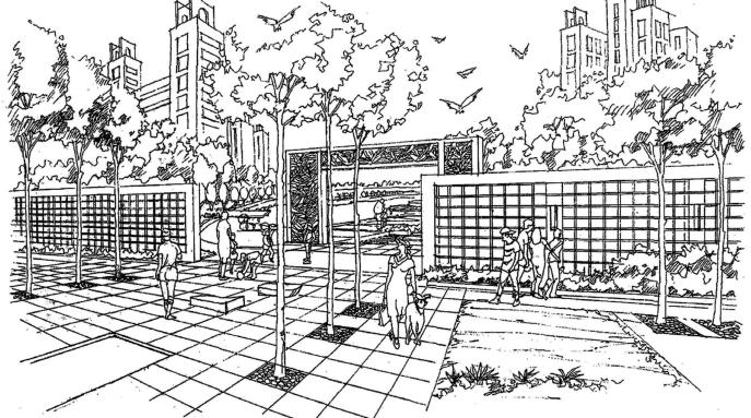 风景园林手绘线稿,可下载打印_9
