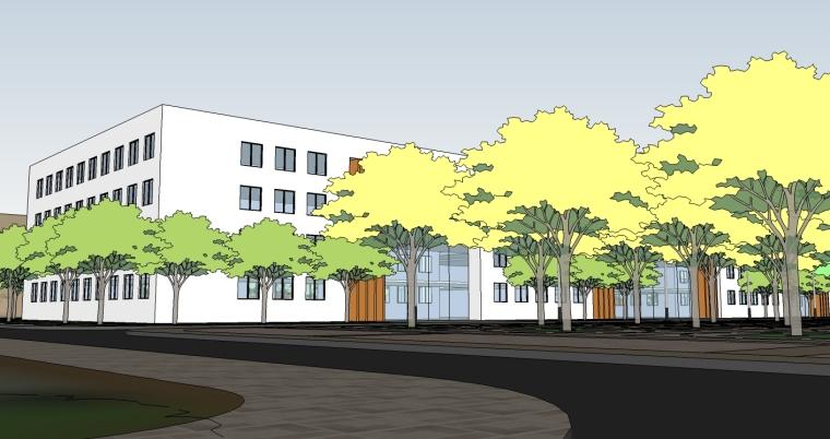 精现代风格学校规划建筑设计SU模型_7