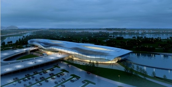 [山东]流线型统一壳状屋面综合水上体育馆建筑设计方案文本(含CAD)