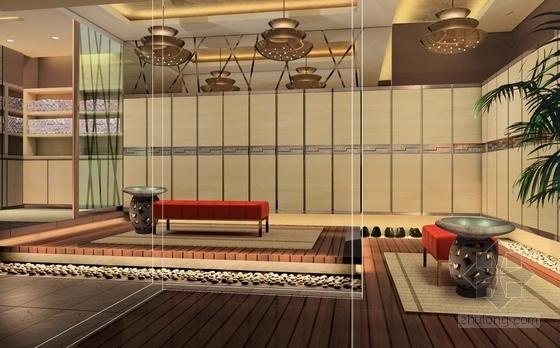 [上海]高档商务休闲会所室内设计概念方案图更衣区效果图