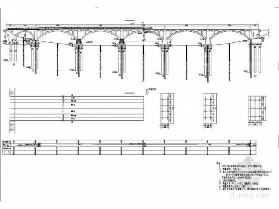 5×28m钢筋混凝土空腹式拱桥施工图48张(实体式墩台 嵌岩桩)