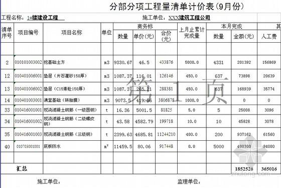 基础工程量清单计价实例(含工程量进度款月报表)