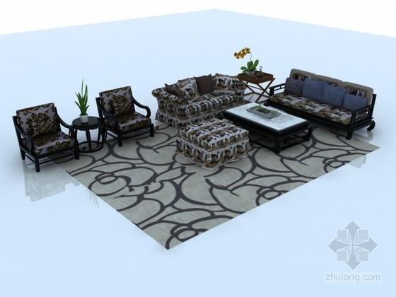 现代中式沙发茶几3D模型下载