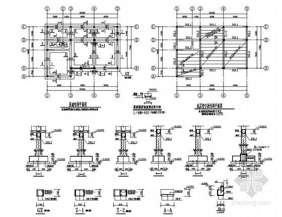 [江苏]砖混结构住宅楼结构施工图(二层 条形基础 坡屋面)