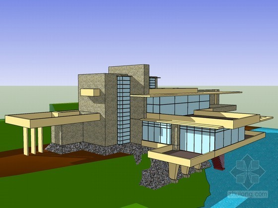 流水别墅SketchUp模型下载