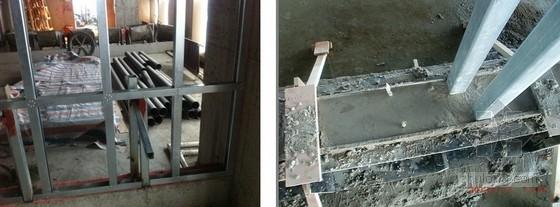 预埋固定支撑架焊接悬挑方通