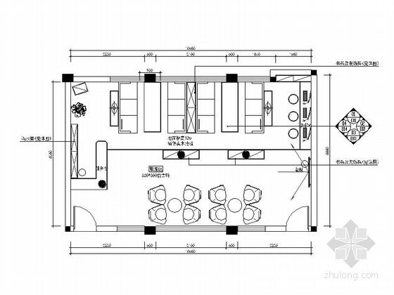 [湖南]某高校休闲舒适书吧室内设计cad施工图(含效果图)图片