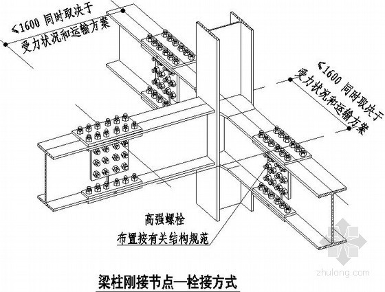钢结构梁柱连接节点详图