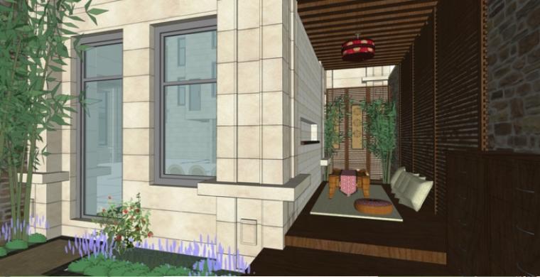 东南亚风格独栋别墅庭院sketchup模型