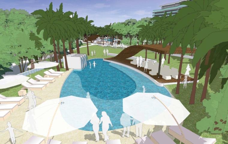 酒店景观设计——按摩池透视图