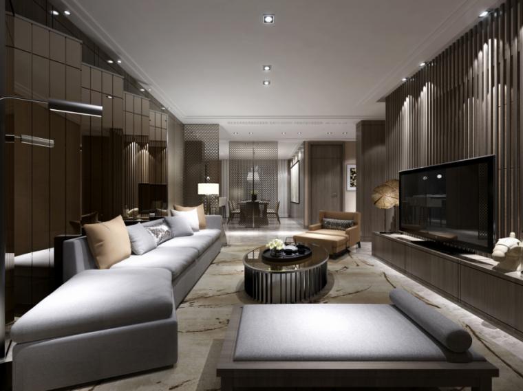 [保定]新中式禅意风别墅样板间室内设计施工图(含效果图)