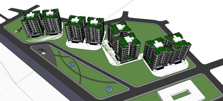 居住区建筑模型设计(SU模型)