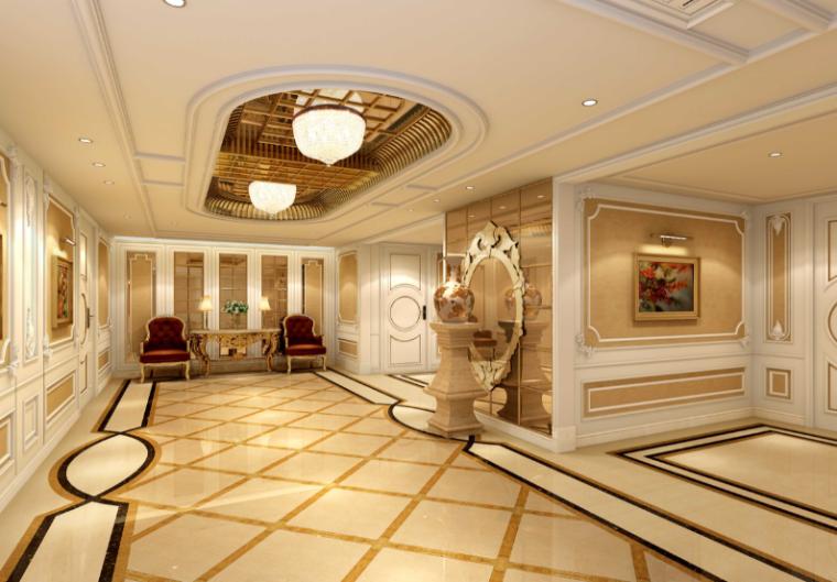 世代锦江国际酒店贵宾楼设计施工图(附效果图)-前厅效果图