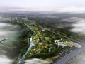 滨水公园全景鸟瞰图PSD分层素材