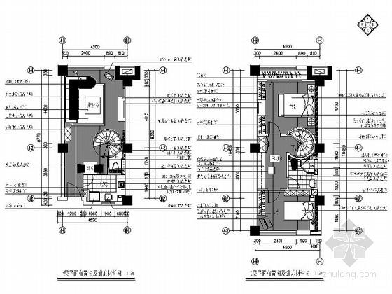 精品简约现代风格两层单身公寓室内装修设计施工图(含效果)