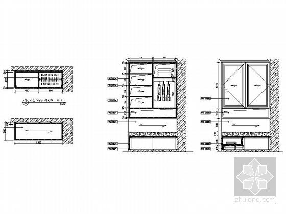 广东]三居室样板房室内装修设计CAD施工图(含效果)儿童房家具剖面图