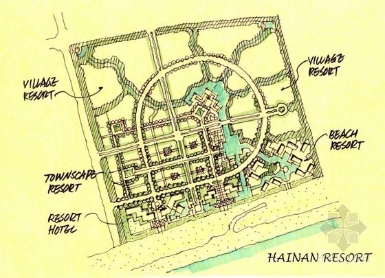 [海南]海景公寓景观初期概念规划深化设计-手绘平面图