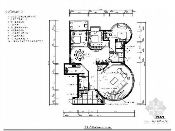 新中式一层豪庭室内施工图(含效果图)