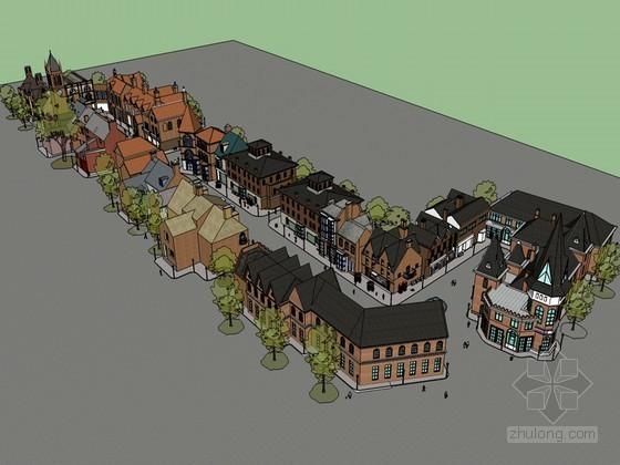欧式商业街SketchUp模型下载
