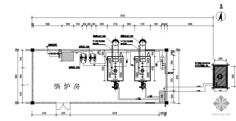 2台2T燃油蒸汽锅炉房流程图